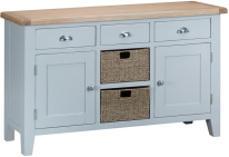 Pippa Painted Large Sideboard With Lime- Washed Oak Top- Grey