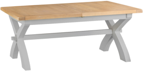 Pippa Painted 1.8 Cross Leg Butterfly Extending Table With Lime- Washed Oak Top- Grey