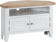 Pippa Grey/ White Painted Corner TV Unit With Lime- Washed Oak Top