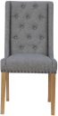 Button Back Studded Chair- Light Grey