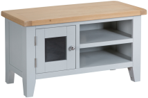 Pippa Painted TV Unit With Lime- Washed Oak Top- Grey