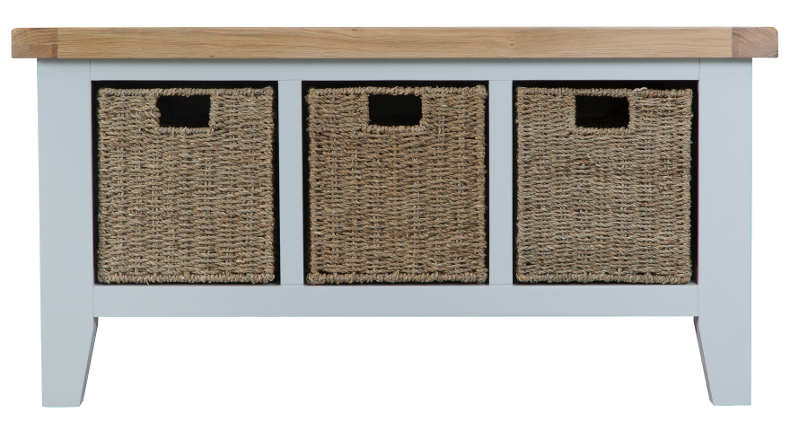 Pippa Grey/ White Painted Hall Bench With Baskets And Lime- Washed Oak Top