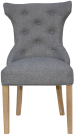 Winged Button Back Chair With Metal Ring- Light Grey