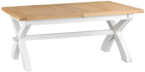 Pippa Painted 1.8 Cross Leg Butterfly Extending Table With Lime- Washed Oak Top- White