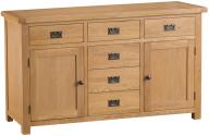 Belle Oak 2 Door 6 Drawer Sideboard