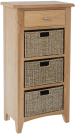 Rosie Oak 1 Drawer Unit With 3 Wicker Baskets