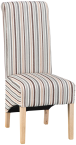 Scroll Back Fabric Chair- Stripe Duck Egg Blue