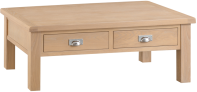 Belle Lime- Washed Oak Large Coffee Table With Drawers
