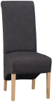 Scroll Back Fabric Chair- Charcoal