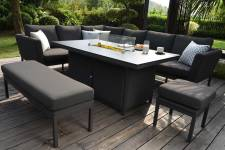 Pulse Rectangular Corner Dining Set With Firepit Table- Charcoal