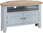 Pippa Painted Corner TV Unit With Lime- Washed Oak Top- Grey