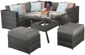 Manhattan Compact Corner Sofa Dining Set With High Table- Grey