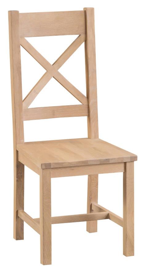 Belle Lime- Washed Oak Cross Back Chair Wooden Seat