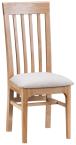 Freya Oak Framed Slat Back Chair With Fabric Seat