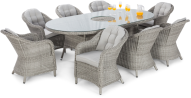 Cambridge 8 Seat Oval Dining Set With Ice Bucket And Lazy Susan