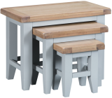 Pippa Painted Nest Of 3 Tables With Lime- Washed Oak Top- Grey
