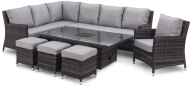 Venice Corner Sofa Dining Set And Armchair With Rising Table And Ice Bucket