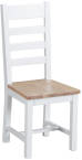 Ladder Back Chair Wooden Seat- White