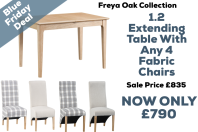 Freya Oak 1.2 Ext Table With 4 Fabric Chairs