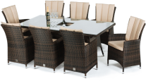 L.A. 8 Seat Rectangle Dining Set With Ice Bucket- Brown/ Grey
