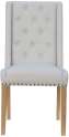 Button Back Studded Chair- Natural