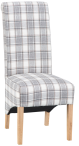 Scroll Back Fabric Chair- Cappuccino Check