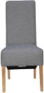 Scroll Back Fabric Chair- Light Grey