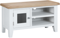 Pippa Painted TV Unit With Lime- Washed Oak Top- White