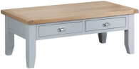 Pippa Painted Large Coffee Table With Lime- Washed Oak Top- Grey