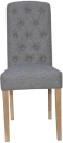 Button Back Chair- Light Grey
