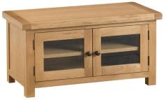 Belle Oak Standard TV Unit With Glazed Doors