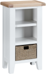 Pippa Painted Narrow Bookcase With Lime- Washed Oak Top- White