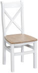 Cross Back Chair Wooden Seat- White