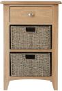 Rosie Oak 1 Drawer Unit With 2 Wicker Baskets