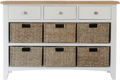 Rosie Painted Oak 3 Drawer Unit With 6 Wicker Storage Baskets- White