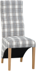 Wave Back Fabric Chair- Cappuccino Check