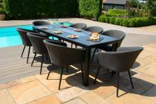 Ambition 8 Seater Set With Fire Pit Dining Table- Charcoal