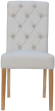 Scroll Button Back Fabric Chair- Natural