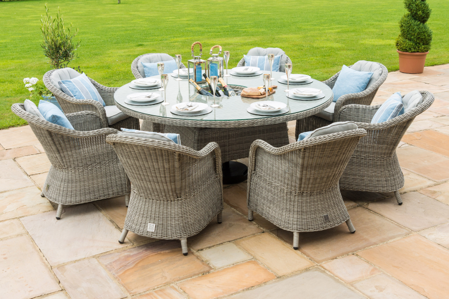 Oxford 8 Seat Round Dining Set With Ice Bucket And Lazy Susan