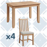 Rosie Oak 1.2 Extending Table With x4 Oak Frame Chairs