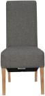 Scroll Back Fabric Chair- Dark Grey