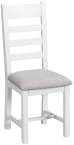 Ladder Back Chair Fabric Seat- White