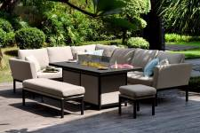 Pulse Rectangular Corner Dining Set With Firepit Table- Taupe