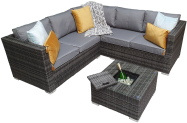 Manhattan Compact Corner Sofa Set With Ice Bucket- Grey