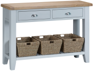 Pippa Painted Large Console Table With Baskets And Lime- Washed Oak Top- Grey