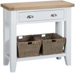 Pippa Painted Console Table With Baskets And Lime- Washed Oak Top- White