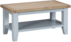 Pippa Painted Small Coffee Table With Lime- Washed Oak Top- Grey