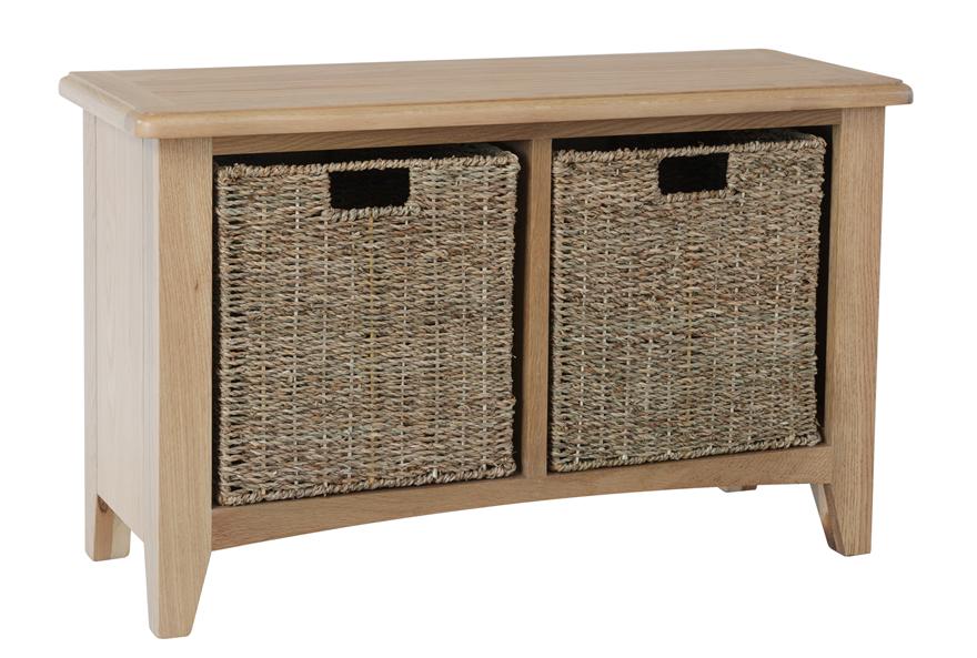 Rosie Oak Hall Bench With Wicker Storage