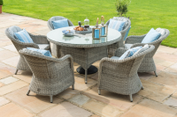 Oxford 6 Seat Round Dining Set With Ice Bucket And Lazy Susan