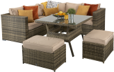 Manhattan Compact Corner Sofa Dining Set With High Table- Brown